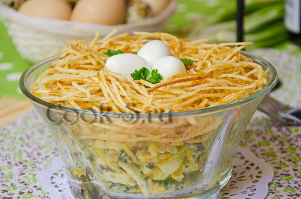 салат перепелиное гнездо на новый год 2017