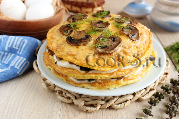 Омлетный торт с грибами
