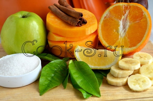 тыква с фруктами - ингредиенты