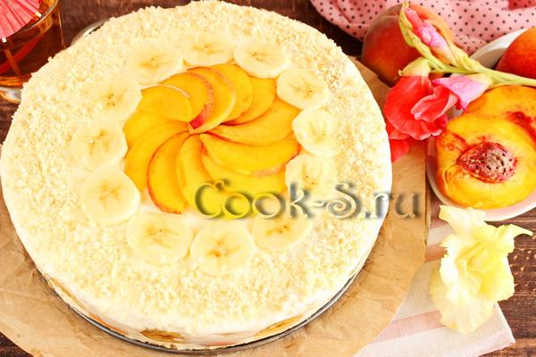 Заливной торт со сметаной и фруктами