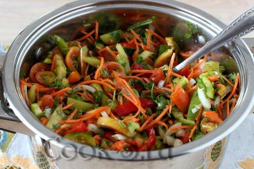 рецепт салата из зеленых помидор на зиму без стерилизации