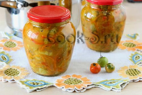 рецепт салата из зеленых помидор на зиму