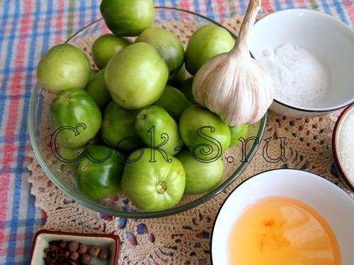 зеленые помидоры с чесноком - ингредиенты