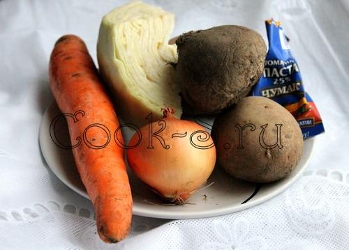 ингредиенты для приготовления борща с курицей
