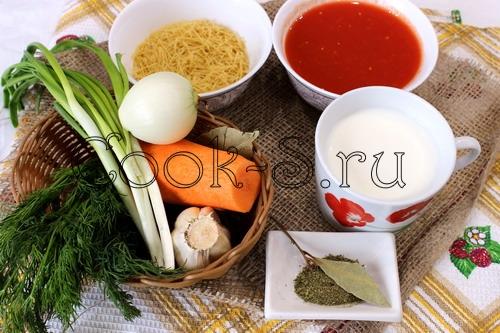 томатный суп с вермишелью - ингредиенты