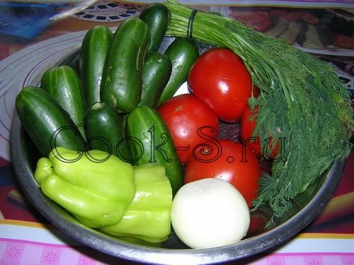 Салаты из помидоров огурцов и перца на зиму рецепты 191