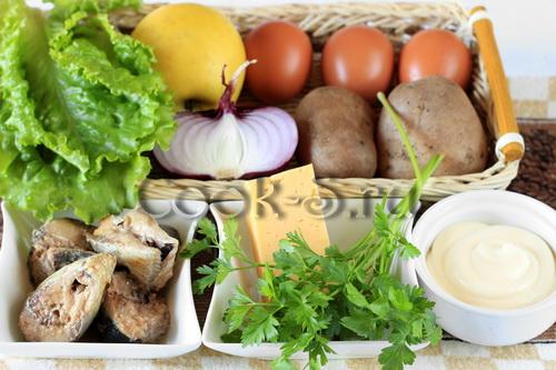салат из сардины консервированной - ингредиенты