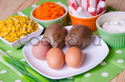 салат из корейской моркови и крабовых палочек - ингредиенты