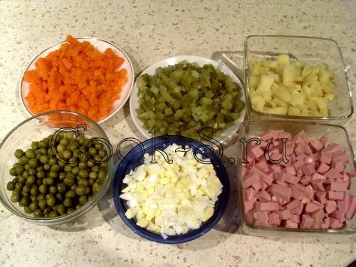 Рецепт оливье пошагово с