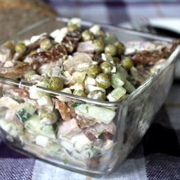 Рецепты салатов с ветчиной и сыром и горошком