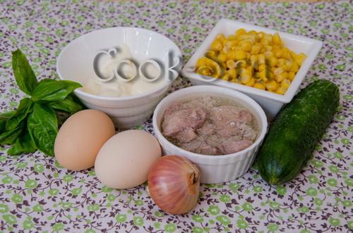 салат с кукурузой крабовыми палочками и огурцом рецепт с фото очень вкусный с