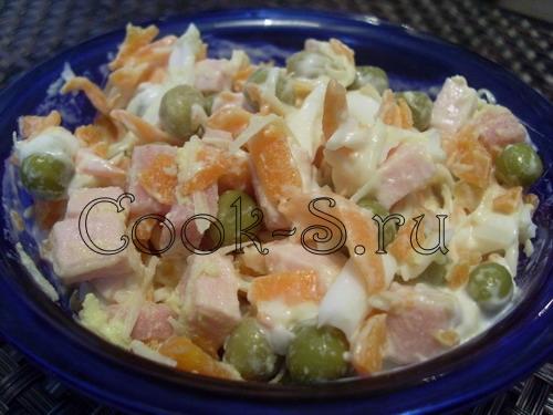 салат с ветчиной и горошком рецепт с фото
