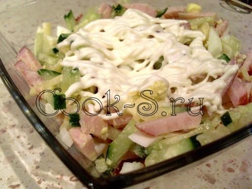 салат с ветчиной и сыром - майонез