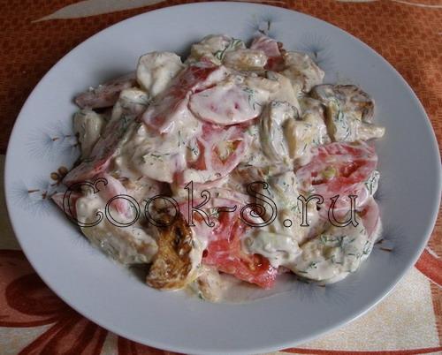 салат из кабачков с мясом