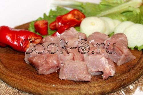 Шашлык в уксусе с луком на сковороде рецепт