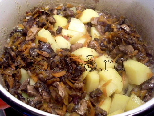 картошка тушеная с курицей и грибами в кастрюле
