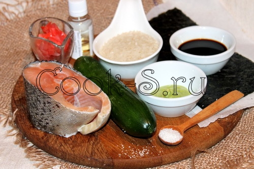 Суши с лососем и огурцом - ингредиенты