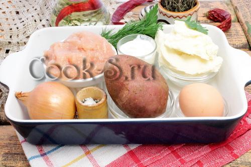 картошка с куриным фаршем - ингредиенты