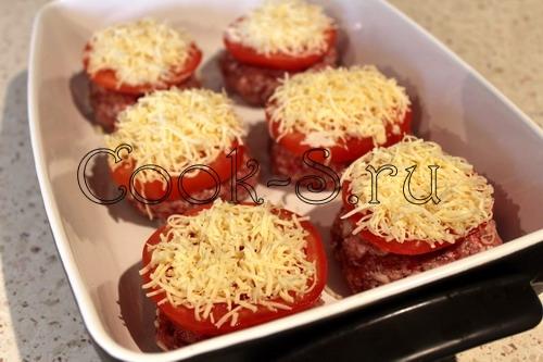 котлеты в духовке с сыром и помидором рецепт с фото