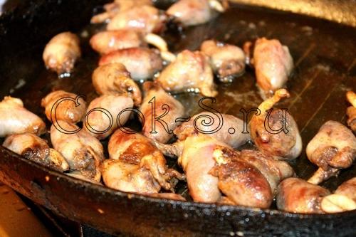 жареные куриные сердечки