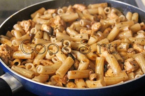 Макароны с грибами рецепт пошагово с