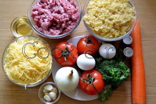 макароны с мясом в горшочке - ингредиенты