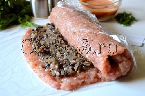 мясной рулет с грибами рецепт с фото