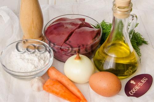 оладьи из печени с морковью и луком - ингредиенты