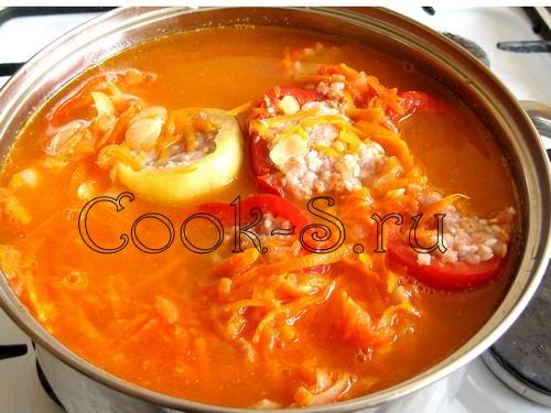 Фаршированные перцы рецепт с пошагово в кастрюле с рисом