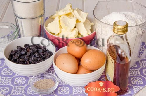 кекс столичный - ингредиенты