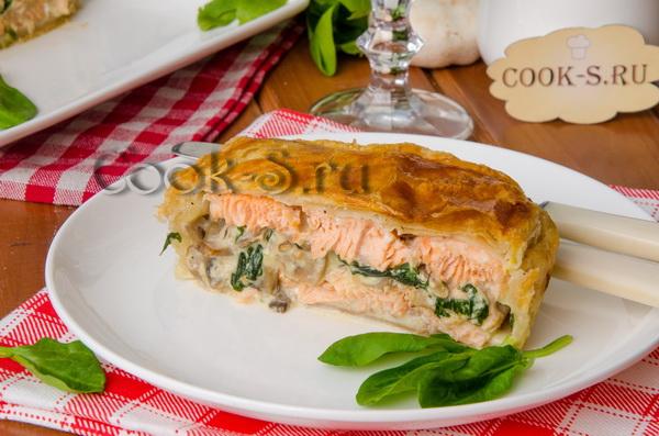 Рыбный пирог с шпинатом из слоеного теста пошаговый рецепт с