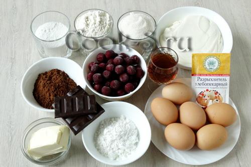 торт чёрный лес - ингредиенты