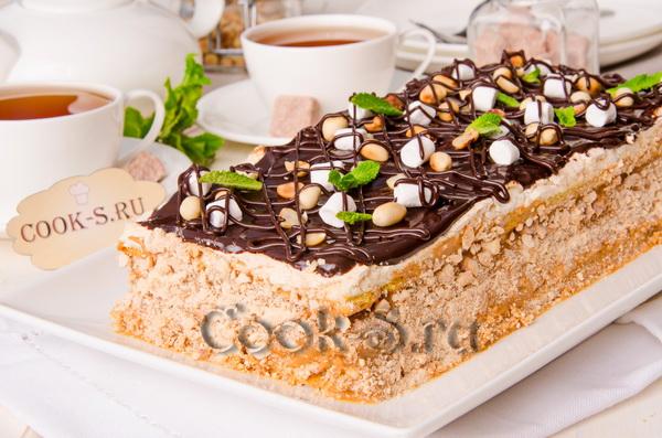 торт воздушный сникерс рецепт с фото пошагово