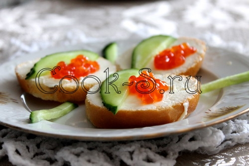 Бутерброды с икрой оформление