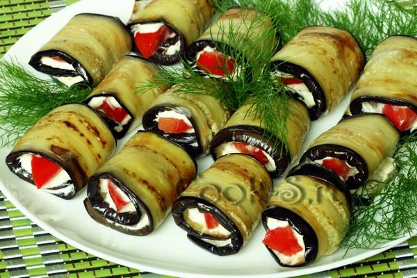 Рулеты из баклажан с разными начинками рецепты с пошагово