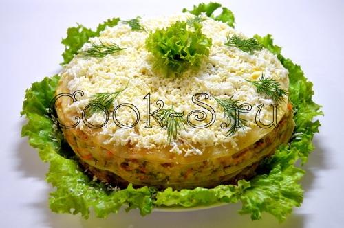 Закусочный блинный торт - Пошаговый рецепт с фото, Закуски