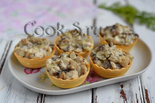 жульен в тарталетках с грибами и курицей рецепт с фото