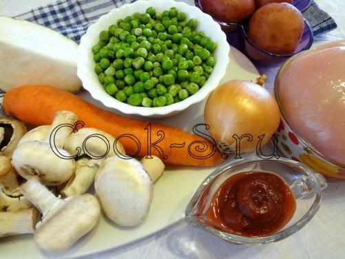 Сэндвич-круассан с горошком и шампиньонами на завтрак, пошаговый рецепт с фото