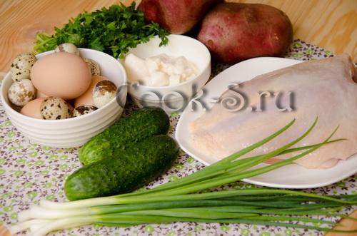 """Салат """"Перепелиное Гнездо"""" – кулинарный рецепт"""