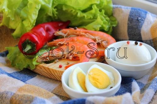 Салат с арбузом, креветками и моцареллой, пошаговый рецепт с фото