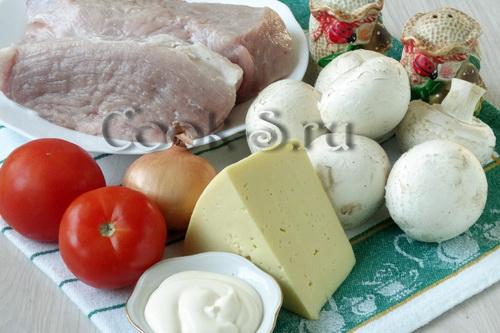 отбивные из свинины с грибами и сыром в духовке - ингредиенты