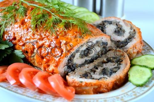 Рулет из фарша с грибной начинкой - рецепт пошаговый с фото