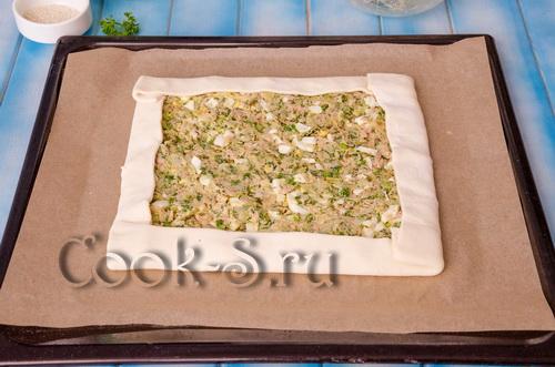 пирог с рыбной консервой из покупного слоеного теста рецепт с фото