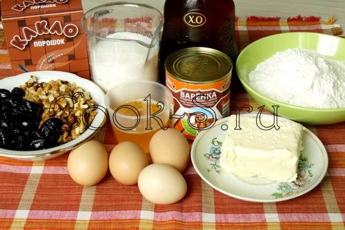 торт с орехами и черносливом - ингредиенты
