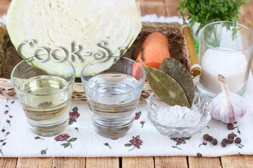 быстрая маринованная капуста с уксусом - ингредиенты