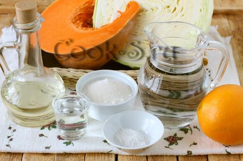 маринованная капуста с тыквой и апельсином - ингредиенты