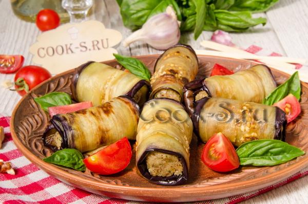 рулетики из баклажанов с грецкими орехами по-грузински